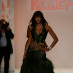 Naomi Campbell Fashion for Relief wearing Zac Posen dress
