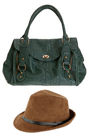 Faux Suede Fedora Hat Wet Seal and Green Turnlock Doctor Bag Urban Outfitters