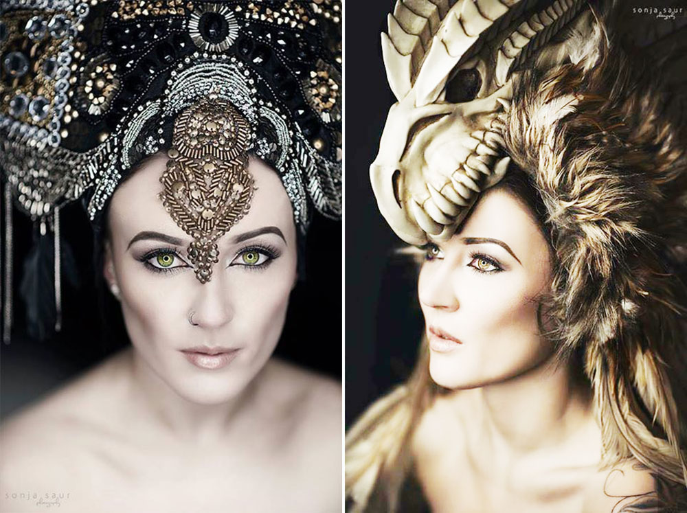 feathered unique headpiece posh fairytale couture