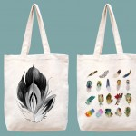 feathers printed canvas tote