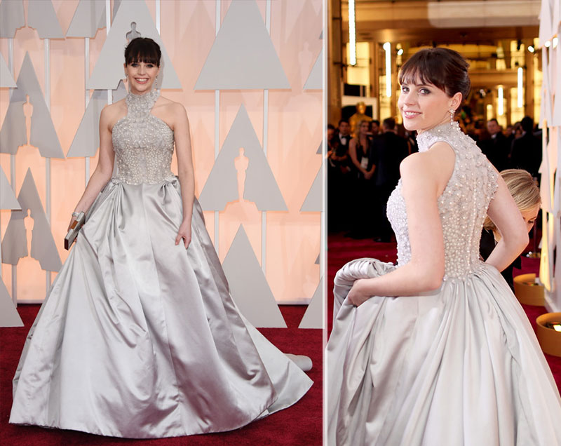 Felicity Jones Alexander McQueen dress 2015 Oscars