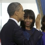 First Lady Michelle Obama new bangs
