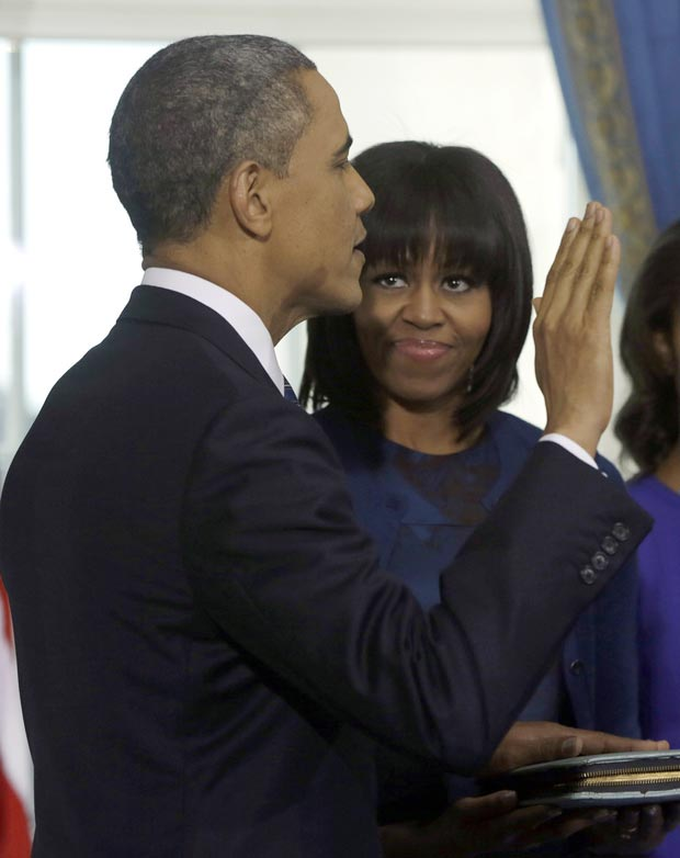First Lady Michelle Obama In Blue Reed Krakoff Dress For Swearing In