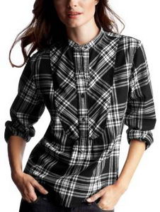 flannel plaid black and white shirt Gap