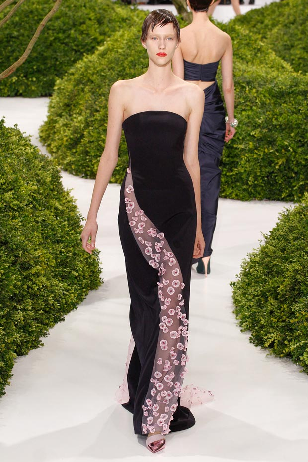 flowers cutout black dress Dior Couture Spring 2013 collection