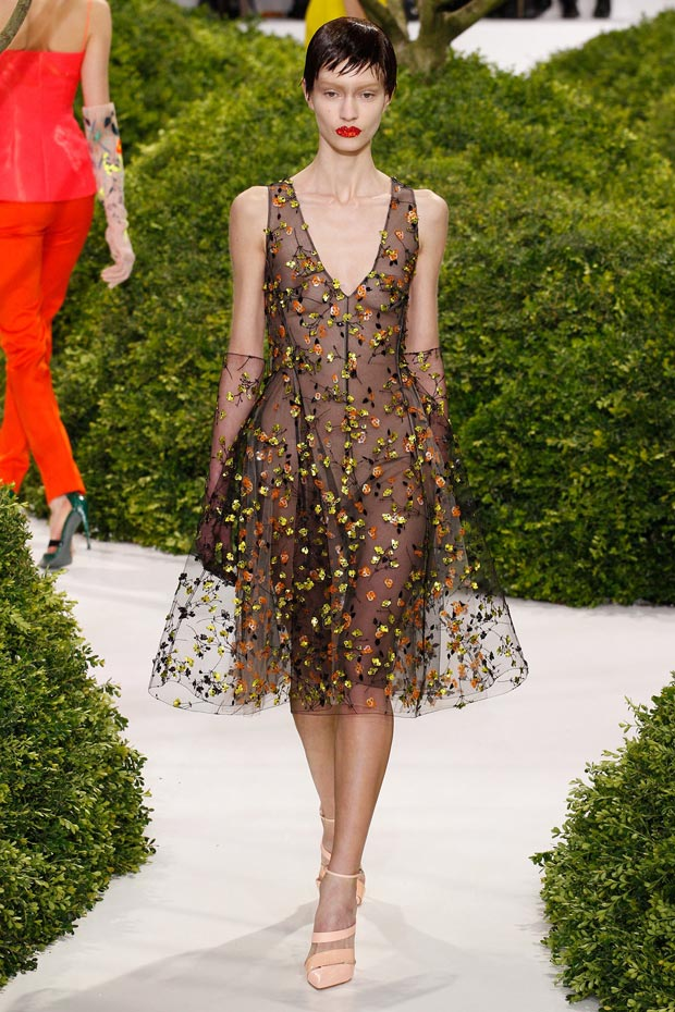 flowers embroidered on black tulle Dior Couture Spring 2013 collection