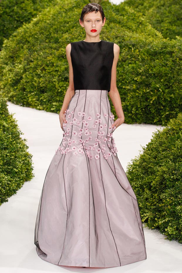 flowers on skirt Dior Couture Spring 2013 collection