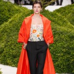 flowers top red coat Dior Couture Spring 2013 collection