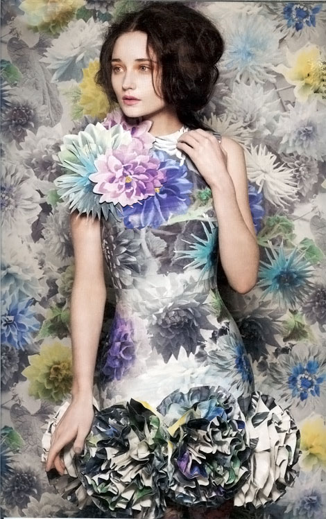 Flowers wallpaper dress