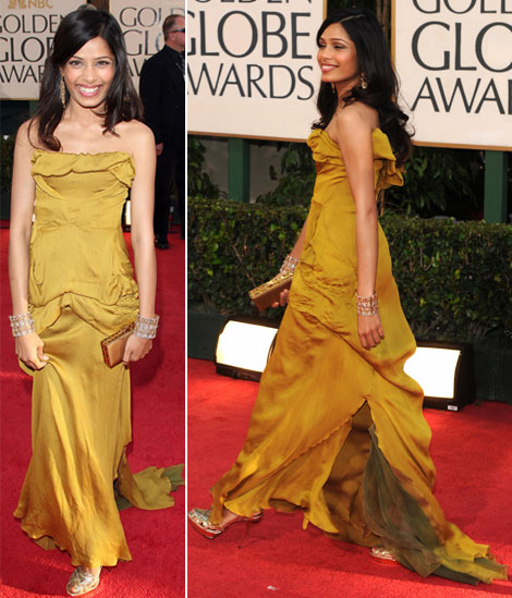 Freida Pinto Christian Lacroix dress Golden Globes 2009