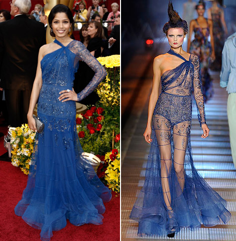 freida pinto john galliano dress oscars 2009 1