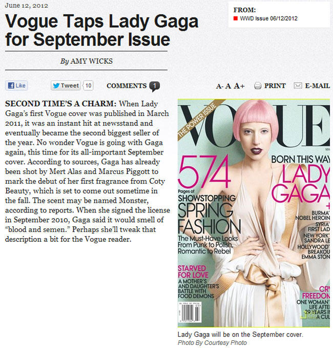 Gaga Covers Vogue September 2012. WWD Using JustJared Photo
