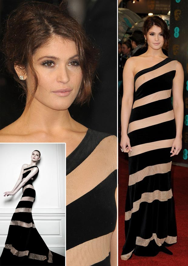 Gemma Arterton striped black dress 2013 BAFTA