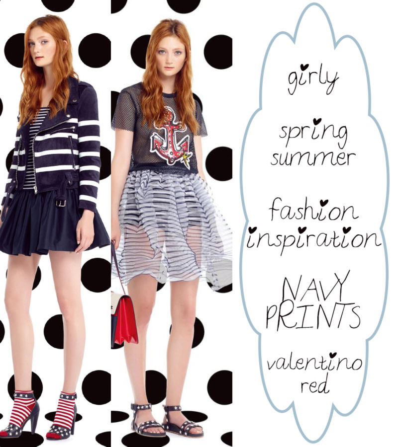 girly fashion inspiration Spring Summer navy prints