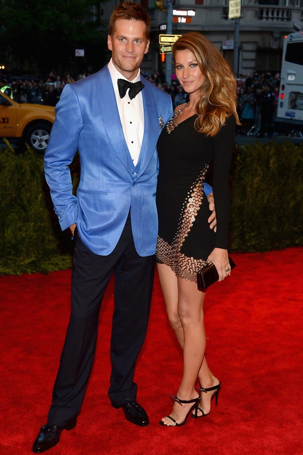 Gisele Bundchen Vaccarello dress Met Gala with Tom Brady