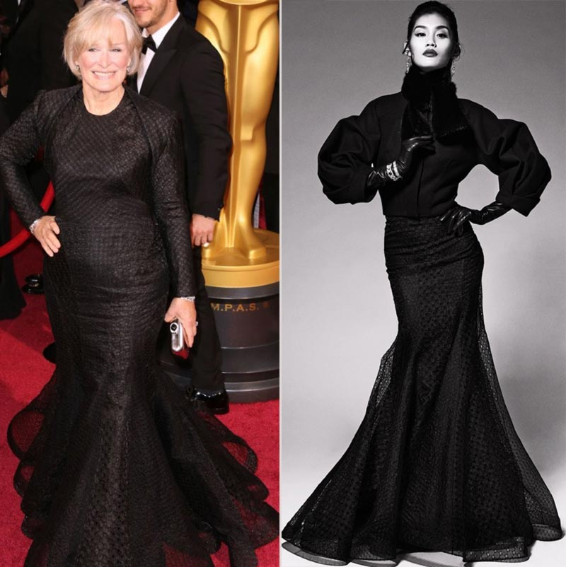 Glenn Close Zac Posen black dress 2014 Oscars