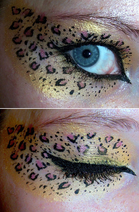 glittery leopard eyes makeup