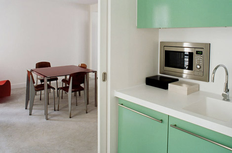 glossy green kitchen cabinets Azzedine Alaia