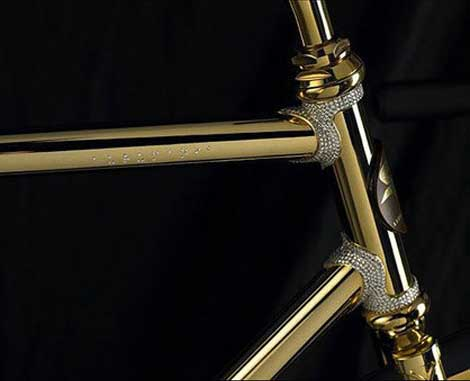 Gold bike Swarovski Crystals detail