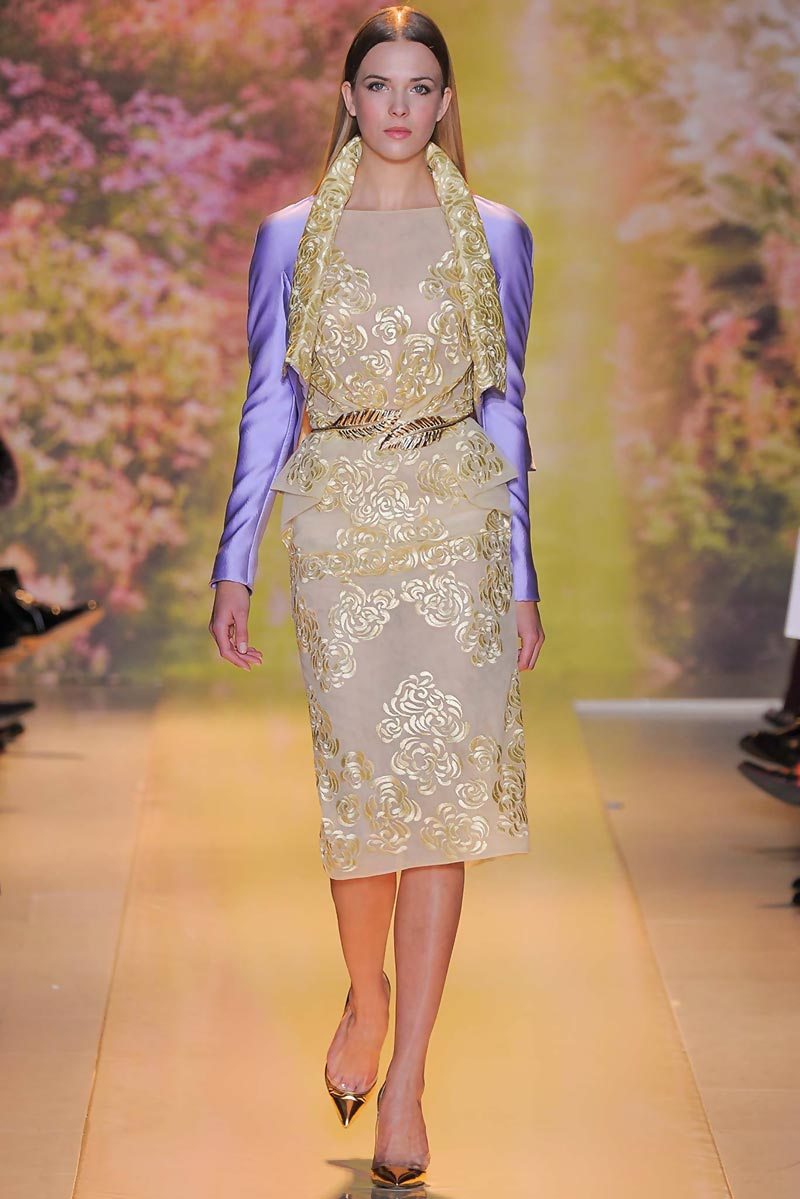 gold embroidery lavender jacket dress Zuhair Murad Spring 14 Couture