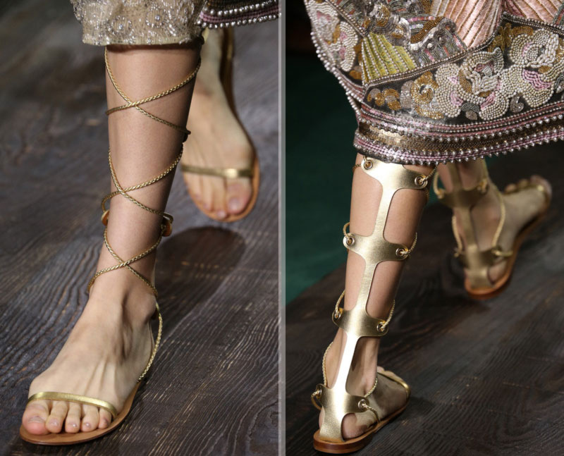 0112c41fbdc0e Haute Couture flat sandals Chanel Valentino. golden gladiator sandals  Valentino Couture Fall 2014