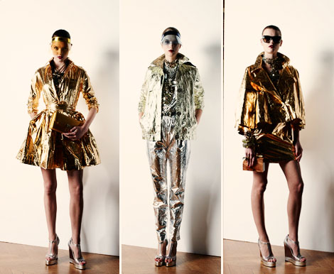 golden silver tinfoil clothing Lanvin Resort 2013 Lanvin Resort 2013 Collection Structured, Pleated, Shiny