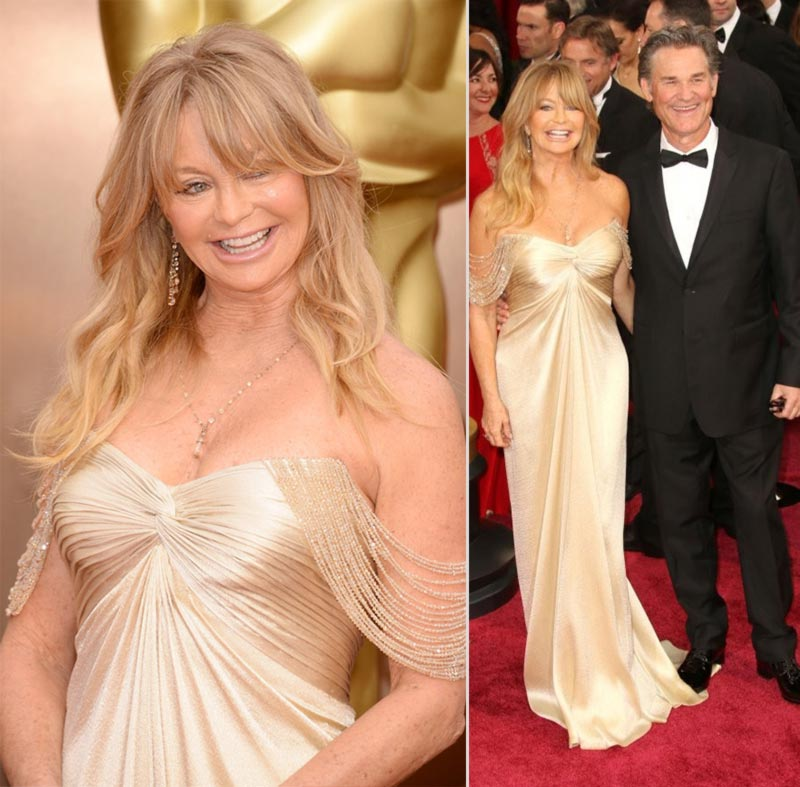 Goldie Hawn silky Versace dress 2014 Oscars with Kurt Russell