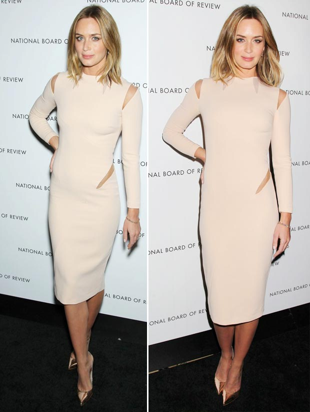 gorgeous Emily Blunt beige cutout dress