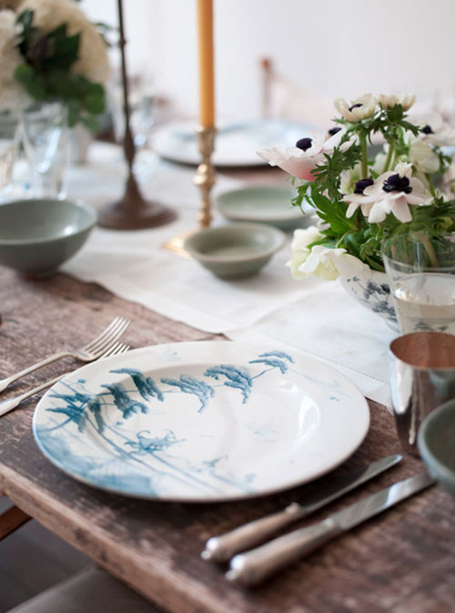 gorgeous plates white and blue