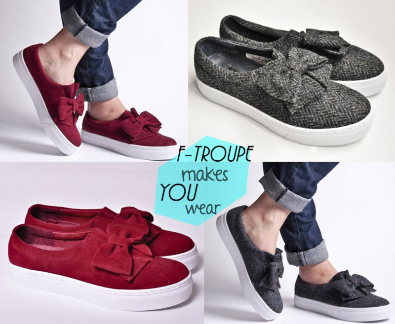 great shoes for fall F Troupe bow slip on sneakers