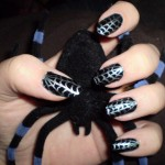 great spiderweb manicure silver web