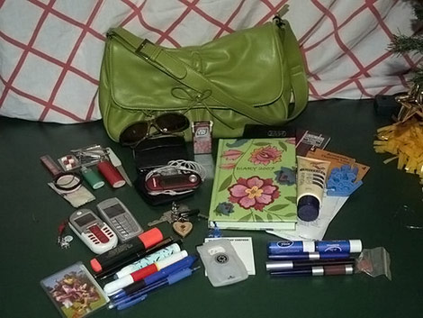 green purse content