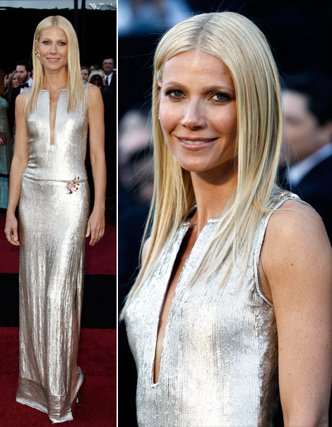 Gwyneth Paltrow sequined Calvin Klein dress 2011 Oscars
