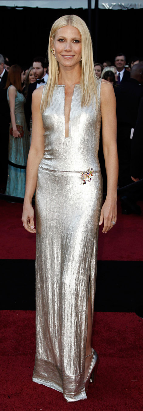 Gwyneth Paltrow Silver Sequined Calvin Klein Dress For 2011 Oscars
