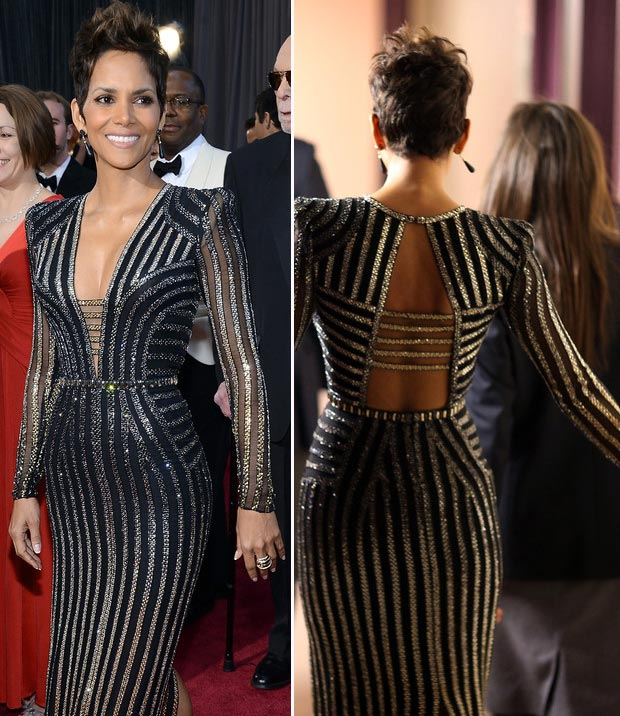 Halle Berry black silver Versace dress 2013 Oscars