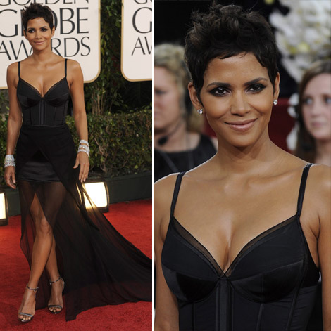 Halle Berry black Nina Ricci dress Golden Globes 2011