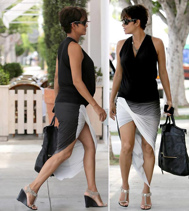 Halle Berry pregnant wardrobe ombre skirt