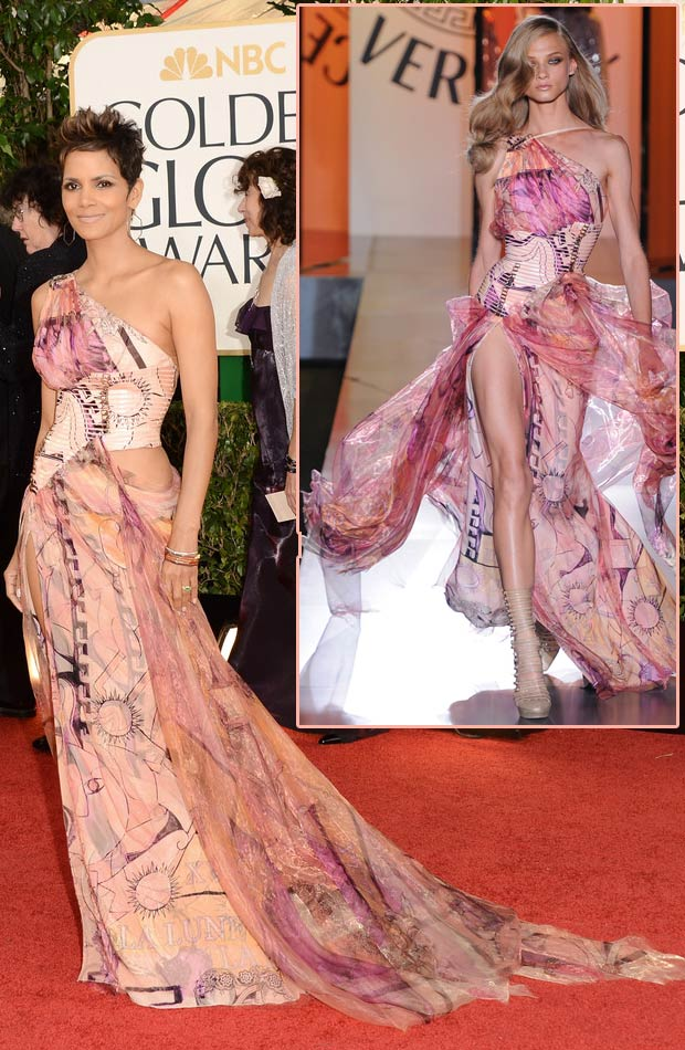 Halle Berry Versace revealing dress 2013 Golden Globes