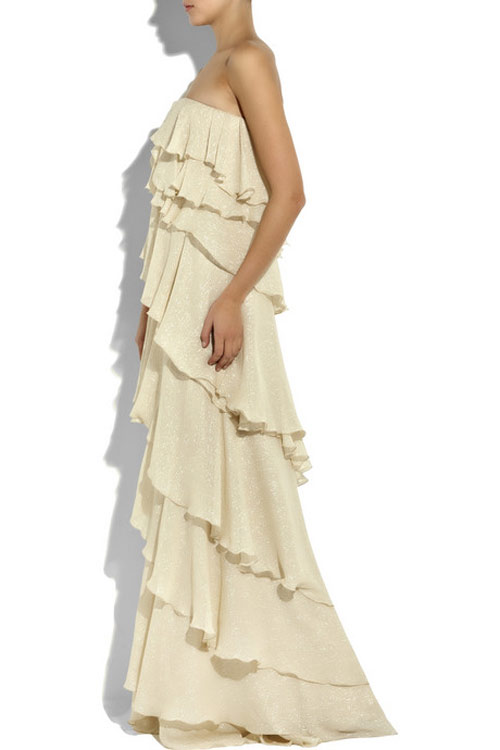 Halston chiffon lurex dress 1