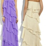 Halston chiffon lurex ruffle maxi dress