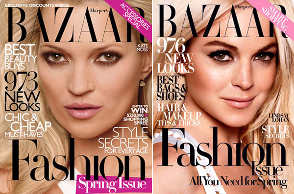 Harpers Bazaar Kate Moss vs Lindsay Lohan covers large