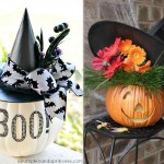 hat decorated pumpkins fashion Halloween
