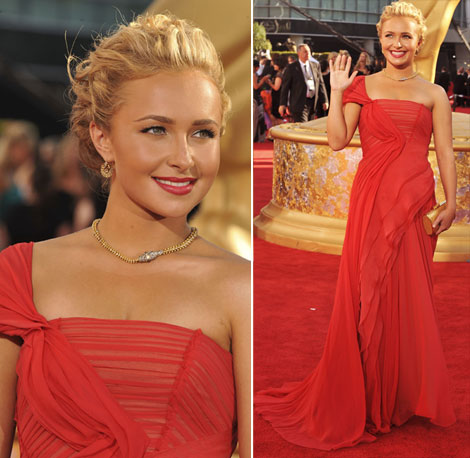 Hayden Panettiere Red J Mendel Dress For 2009 Emmy Awards
