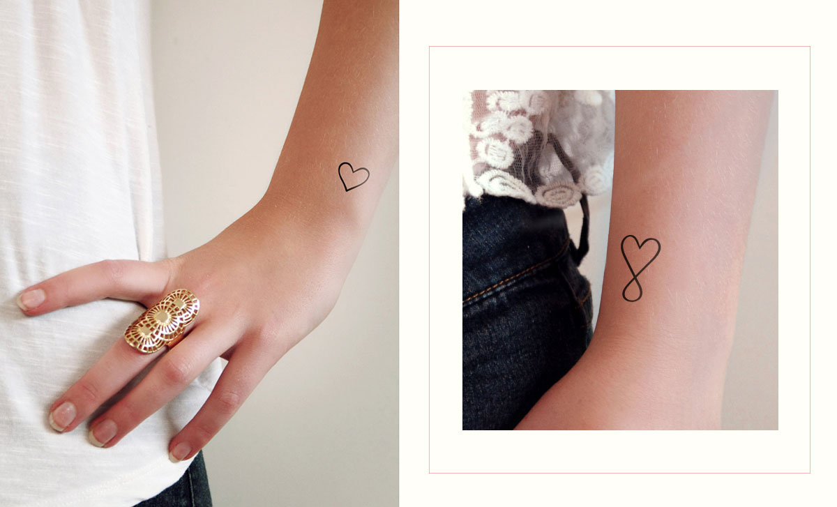 heart shaped temporary tattoo