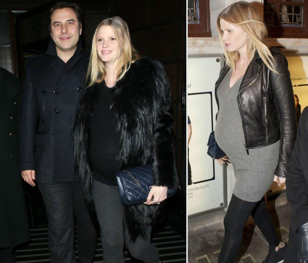 heavily pregnant Lara Stone