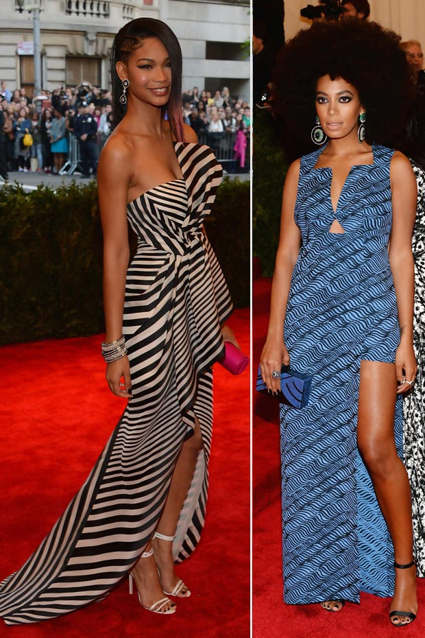 heavy prints 2013 Met Gala Solange Knowles Chanel Iman