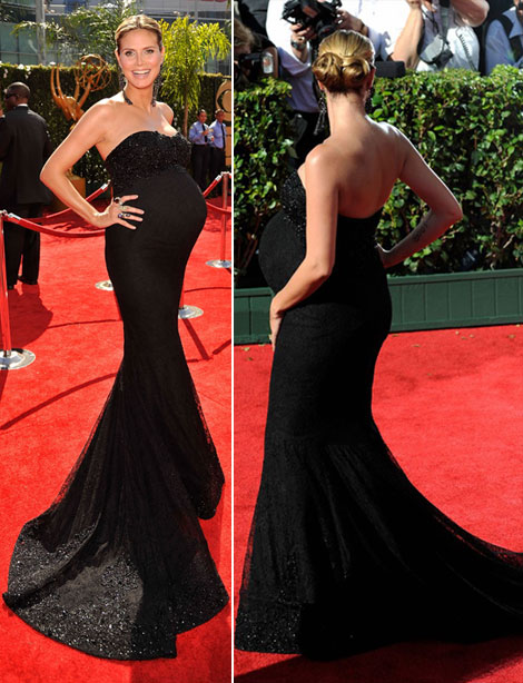 Pregnant Heidi Klum In Black Marchesa Dress For 2009 Emmy Awards