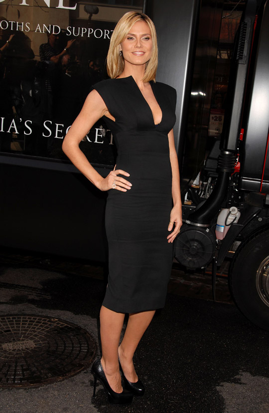Heidi Klum Beckham dress YSL pumps