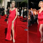 Heidi Klum favors red for pregnant Red Carpet dresses