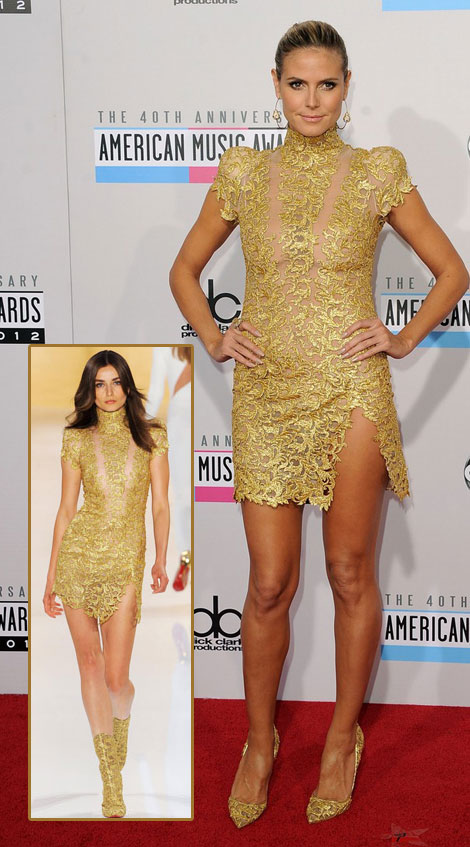 Heidi Klum golden mini dress AMAs 2012